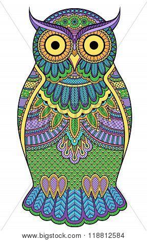 Graphic Ornate Multicolour Owl