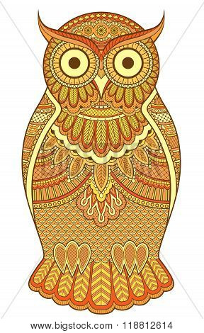 Graphic Ornate Orange Owl