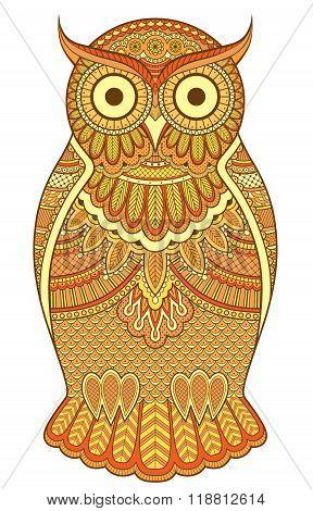 Graphic Ornate Orange Owl