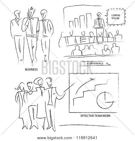 Outline of business people. Set a group of employees. Outline of