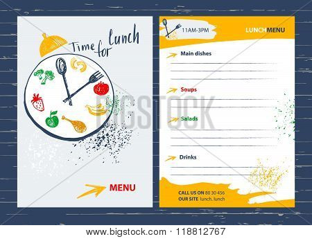 Time for lunch. Menu design element for  cafe, restaurant, bar.F