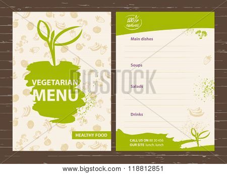 Template of a vegetarian menu for a cafe, restaurant, bar. Healt