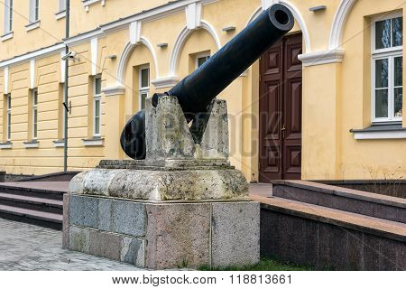 Vintage cannon  in Daugavpils fortress