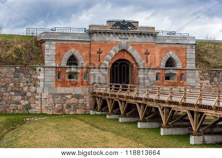 Emperor gates and wooden bridge in Daugavpils fortress, Latvia.