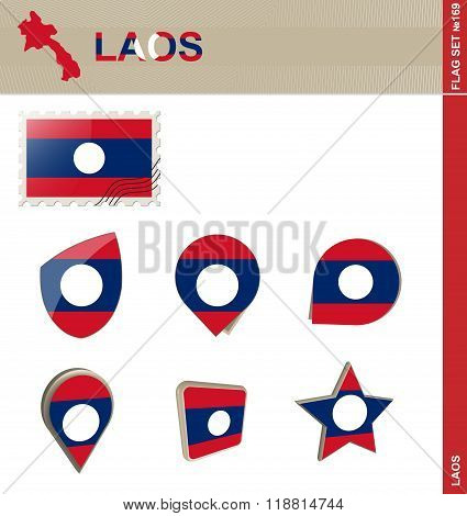 Laos Flag Set, Flag Set #169