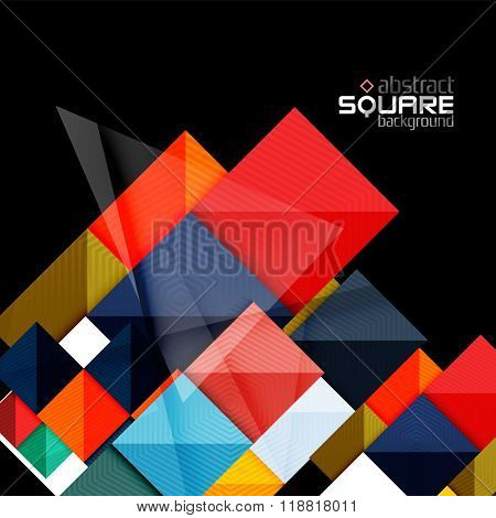 Glossy color squares on black. Geometric abstract background