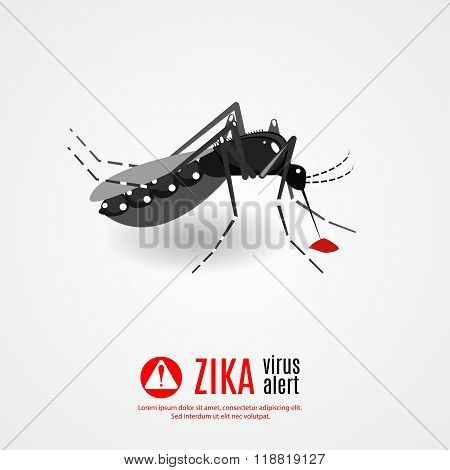Caution of mosquito (Aedes Aegypti) icon spread of zika and dengue virus. Vector Design