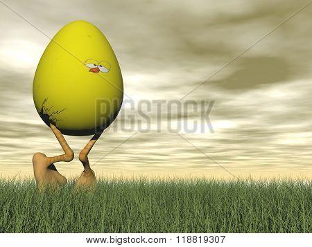 Easter yellow egg - 3D render