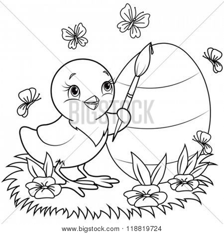Color page of an Easter Chicken is painting an egg