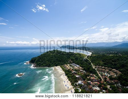 Aerial View of Juquehy Beach and Barra do Una, Sao Paulo, Brazil