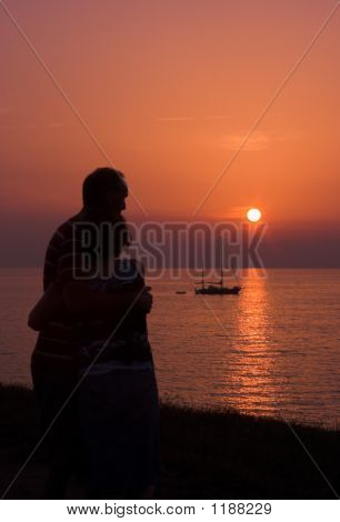 Embrace In The Sunset