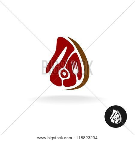 Meat Piece With Fork And Knife Logo. Restaurant Meat Menu Or Farmer Market Concept Symbol.
