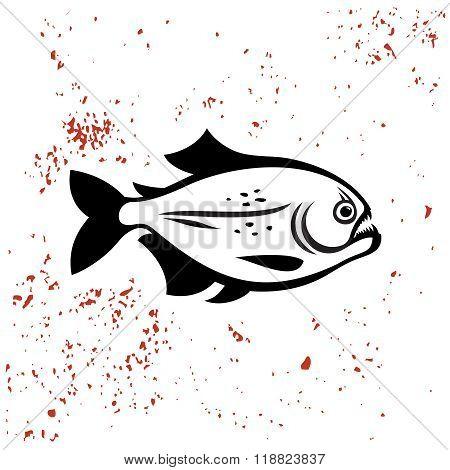 Piranha Black Silhouette Logo. Angry Evil Dangerous Fish Illustration.