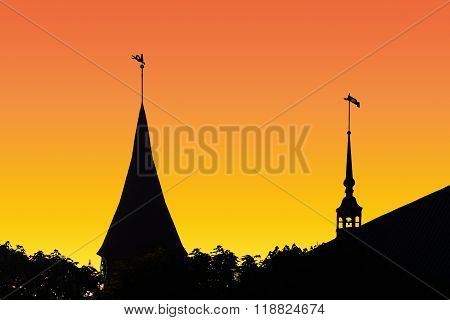 Silhouette Konigsberg Cathedral At Sunset. Kaliningrad, Russia