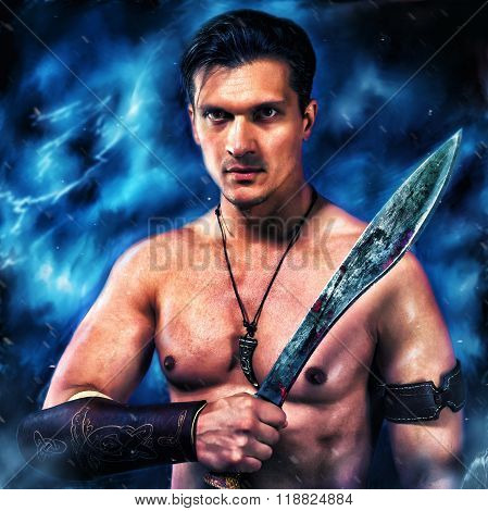 Ancient Warrior. Portrait Of A Man