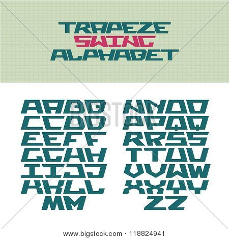 Corner Tech Style Font. Trapeze Shaped Letters With Flip Versions. Vector Alphabet For Use In A Logo