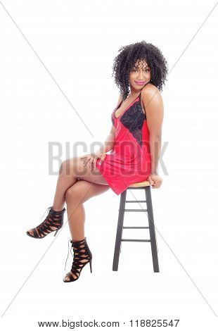 African American In Red Lingerie.