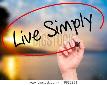 Man Hand Writing Live Simply With Black Marker On Visual Screen