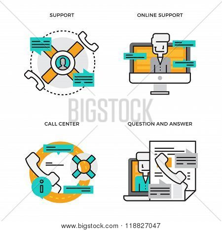 Flat line design vector illustration concept of Support, Online Support,Call Center, Help Process,Te