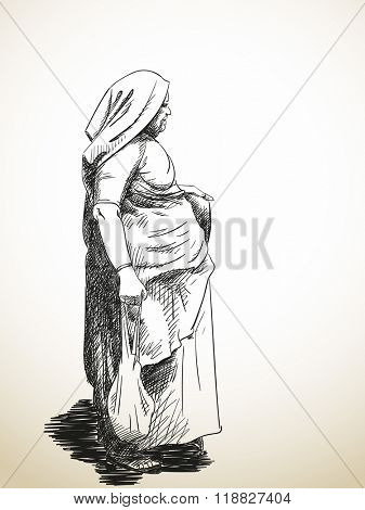 Sketch of standing old woman wrapped in sari, Hand drawn illustration