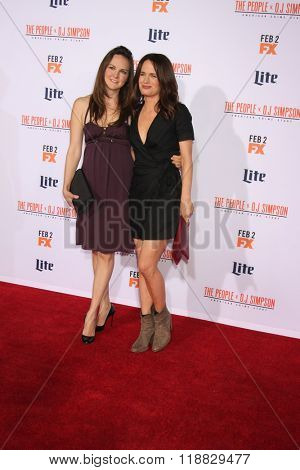 LOS ANGELES - JAN 27:  Carla Gallo, Elizabeth Reaser at the American Crime Story - The People V. O.J. Simpson Premiere at the Village Theater on January 27, 2016 in Westwood, CA
