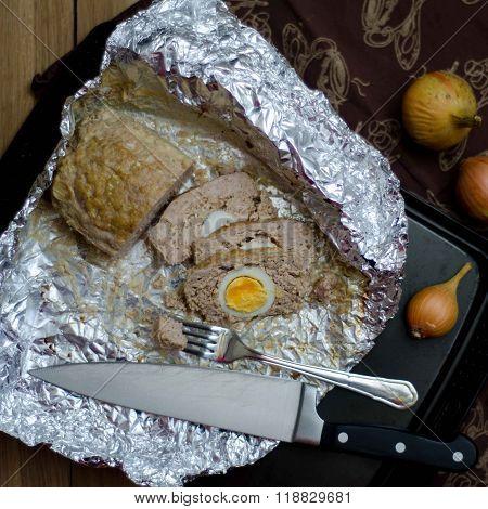 Meatloaf With Egg On A Foil