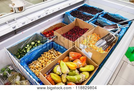 Showcase With Frozen Vegetables And Fruits  In Hypermarket Karusel, Russia