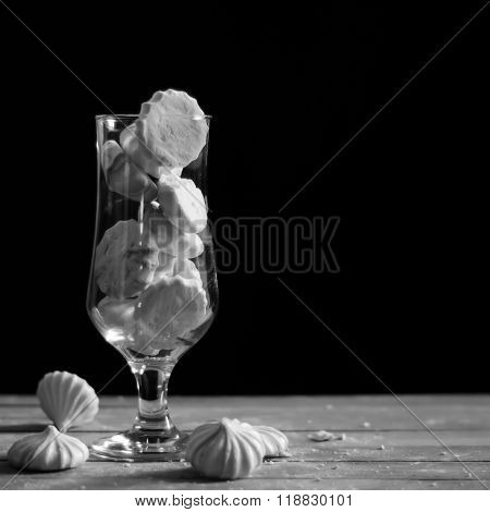 meringue in a glass, black and white