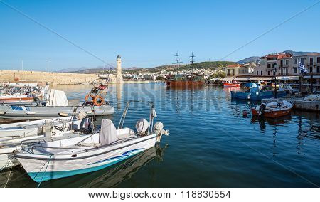 Traditional Greek boats at old port of Rethimno town