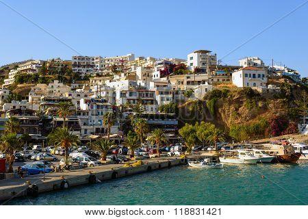 View on city of Aghia Galini on Crete island, Greece