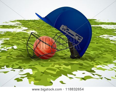Creative helmet with glossy ball on green grass for Cricket Sports concept.