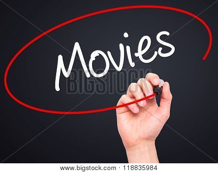 Man Hand Writing  Movies With Black Marker On Visual Screen
