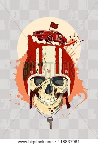 Racing design template with racer skull, rasterized version