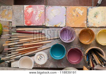 Tools of a ceramic decorator