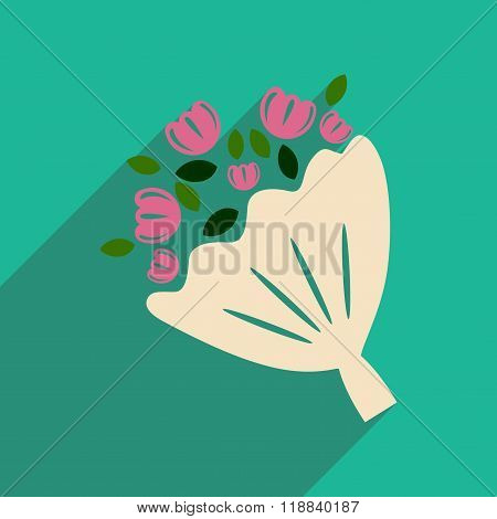 Flat web icon with long shadow bride's bouquet