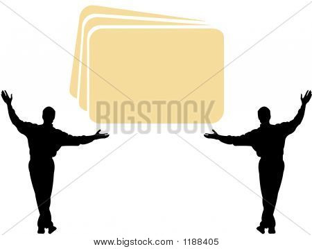 Two Man Holding Logo For Your Text - Vector Illustration
