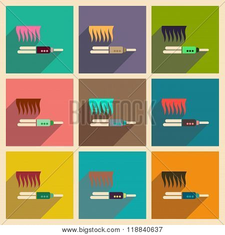 Modern flat icons vector collection with shadow hair straightener
