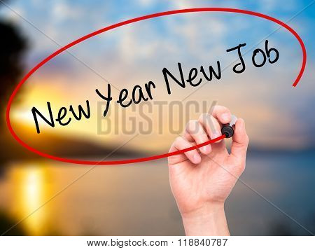 Man Hand Writing New Year New Job With Black Marker On Visual Screen
