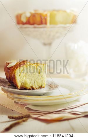 Cake At Pastry With Almonds