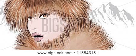 Young woman in coat and fur hat in the snowy mountain - winter season and mountain landscape - vector illustration