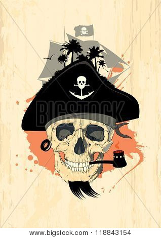 Art design template with pirate skull, rasterized version