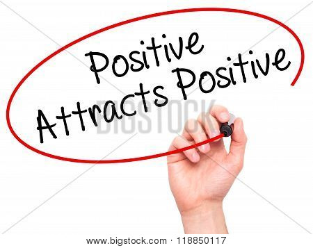 Man Hand Writing Positive Attracts Positive With Black Marker On Visual Screen