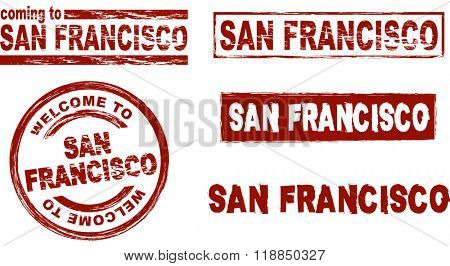 Set of stylized ink stamps showing the  city of San Francisco