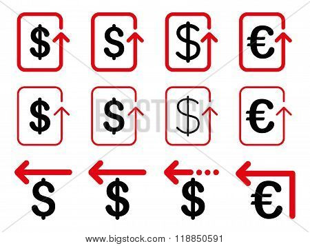 Dollar And Euro Refund Flat Glyph Icon Set