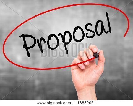 Man Hand Writing  Proposal With Black Marker On Visual Screen