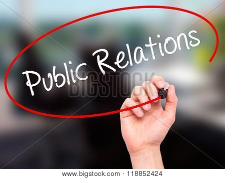 Man Hand Writing Public Relations With Black Marker On Visual Screen