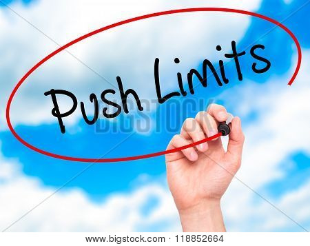 Man Hand Writing Push Limits With Black Marker On Visual Screen