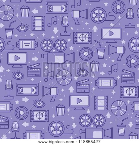 seamless pattern with line movie icons