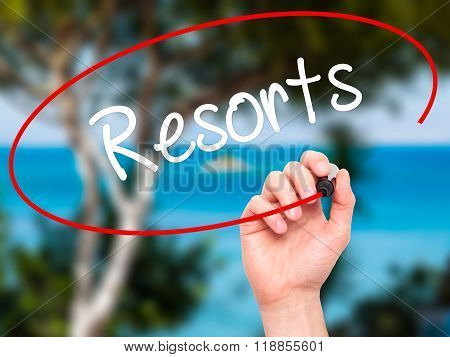 Man Hand Writing Resorts  With Black Marker On Visual Screen