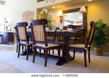 Modern tastefully decorated dining room